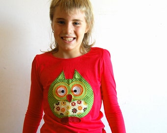 OWL girls long sleeve red autumn t-shirt top, toddler tshirt, girl top, toddler top, girl applique top, owl girl tee, toddler tee, fall top