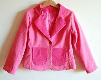PINK CIRCUS Girls handmade corduroy jacket , pink corduroy toddler girl jacket, girls fitted suit jacket, girl coat, girls winter outwear