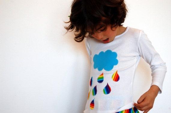 Girls or boys customised cotton t-shirt RAINBOW - Any size