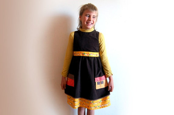 Sale - HOME SWEET HOME girls brown corduroy handmade jumper dress with little house pockets