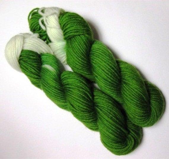 Hand-painted yarn, DK, light weight, green field