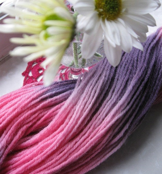 Hand Dyed Worsted Weight Yarn 220 yards --- Rosy Dusk