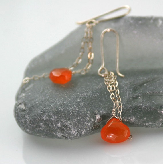 Carnelian earrings, sterling earrings, Little Spark earrings, sterling silver and carnelian