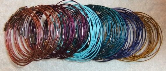 Magnetic Bracelet Wires Color Coated for Beads 6.5 to 8 inch quantity 25 you pick the colors