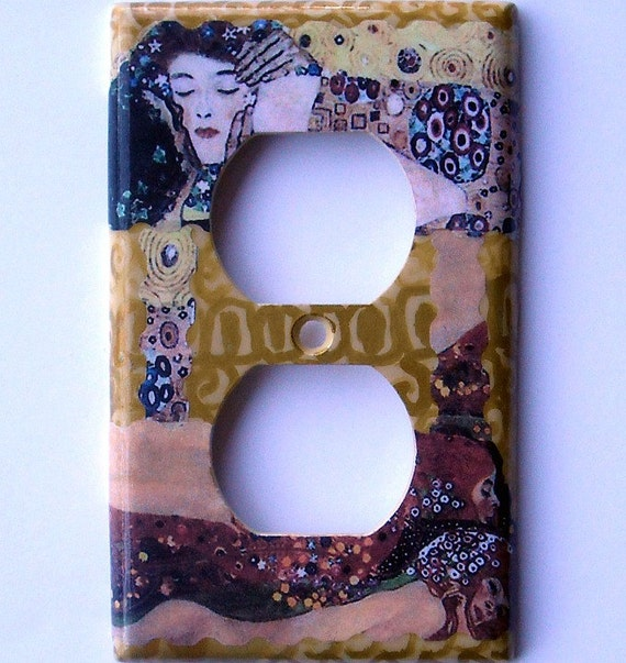 Klimt on a handpainted background- A romantic MIXED MEDIA single outlet plate (made to order/ C-k)