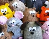 Peter's Pals - hedgehog dog lion tiger horse pig elephant hamster rabbit mouse bear beaver - INSTANT DOWNLOAD PDF Knitting Pattern