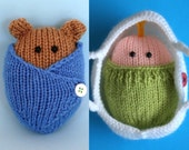 2 patterns Wrapped Up Baby and Baby Bear in blanket and basket - INSTANT DOWNLOAD PDF Knitting Pattern
