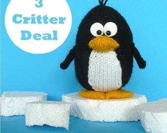 Kookla Critters bird pack - penguin, owl, duck and bird - INSTANT DOWNLOAD PDF Knitting Pattern