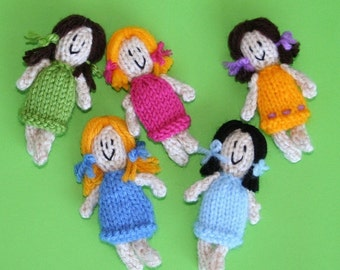 Tiny Boy and Girl Dolls or Ornaments  - INSTANT DOWNLOAD PDF Knitting Pattern