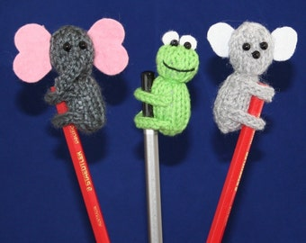 Animal Pencil Toppers - INSTANT DOWNLOAD PDF Knitting Pattern