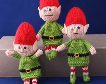 Posable Santa Christmas elves - INSTANT DOWNLOAD PDF Knitting Pattern