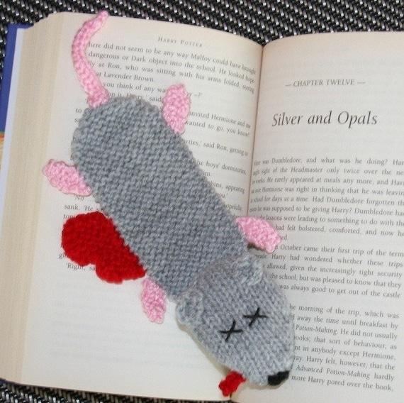 Knitting Bookmarks : Squashed rat bookmark pdf knitting pattern by kooklacreations