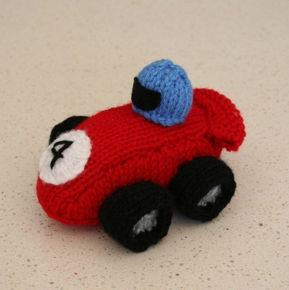 Car Knitting Pattern : Race Car INSTANT DOWNLOAD PDF Knitting Pattern