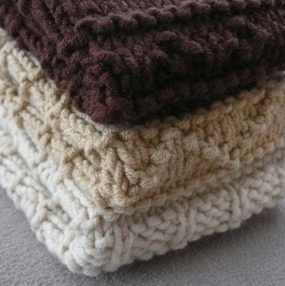 3 Different dish/face/wash cloths number 2 - INSTANT DOWNLOAD PDF Knitting Pattern