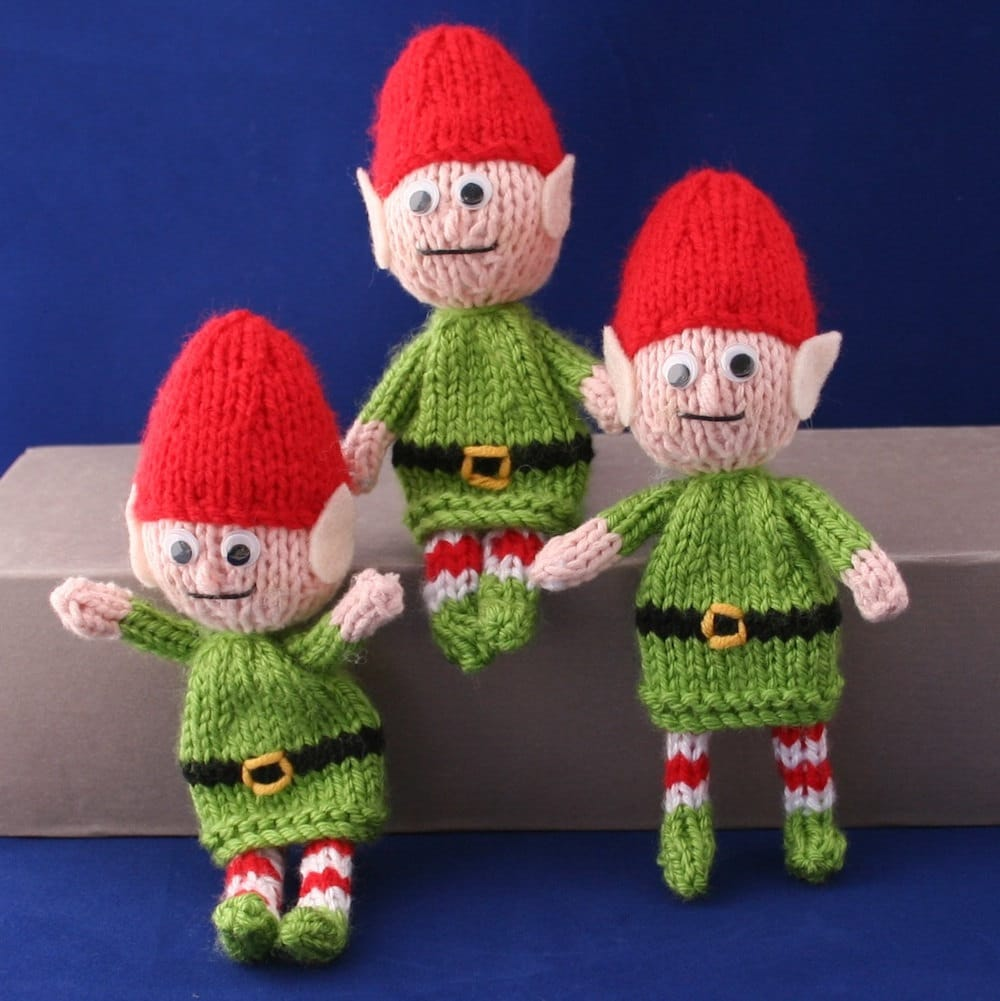 Knitted Elf Pattern : Posable Santa Christmas elves INSTANT DOWNLOAD PDF Knitting