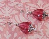 Vintage Acrylic Bead with Rosaline Swarovski Pearl Earrings