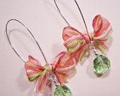 Fun Striped Ribbon Bow and Peridot Crystal Long Earrings