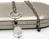 Be Still My Heart - Heart and Crystal Pendant on Chain Necklace
