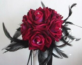 Brides Maids Bouquet - Wine Roses