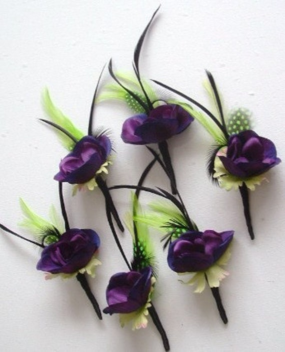 Boutonnieres - Anemone and Feathers -Set of 6