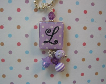Personalized Scrabble tile Pendant Purple Polka Dots