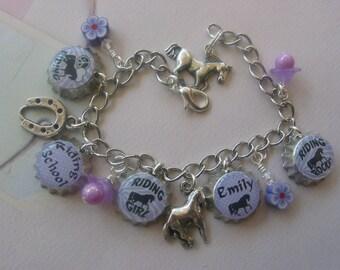 Personalized Mini Bottle caps Bracelet Horse motif/basketball, Gymnastics, Softball. Soccer