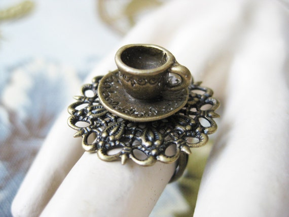 Tea Party Teacup Ring Alice in Wonderland Jewelry