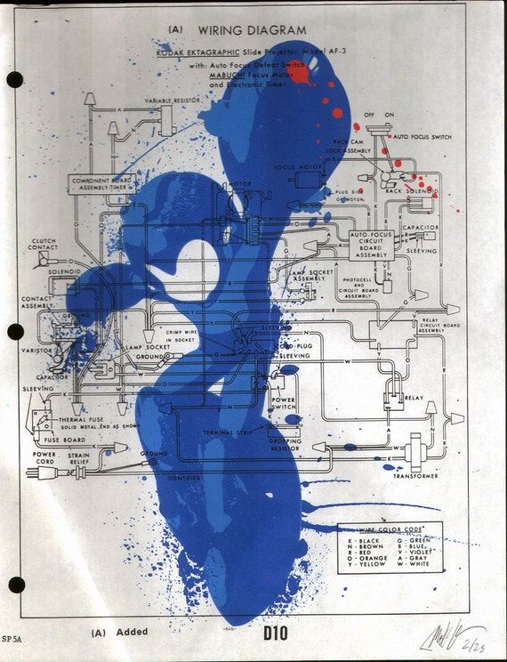 Mega Man Schematic Print on Vintage Paper