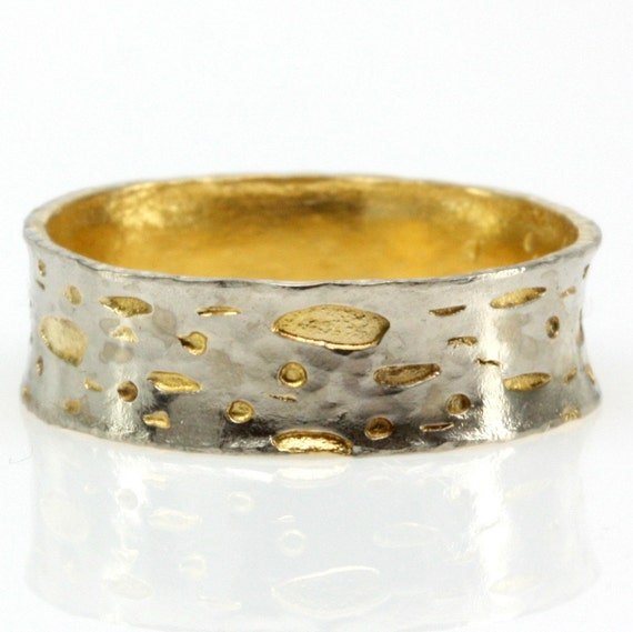 22k yellow gold ring with18k white gold