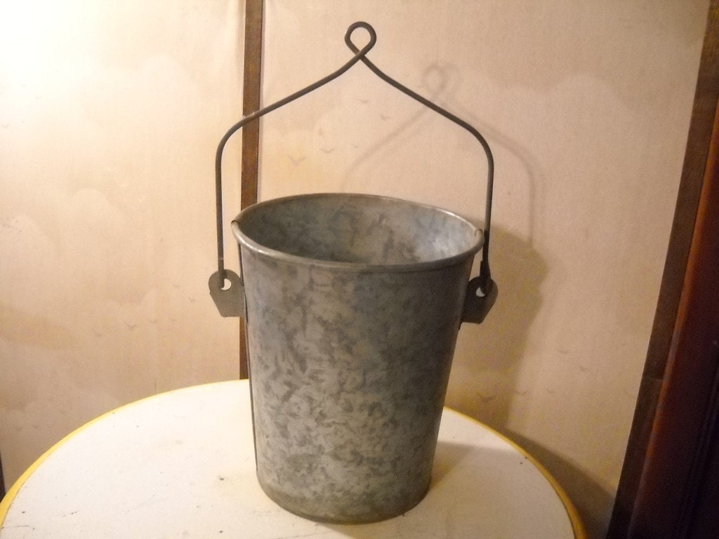 vintage galvanized well bucket or pail