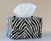 Zebra black n off-white rectangular tissue box cover