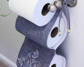 2-roll toilet paper holder, modern Jacobean hand embroidery