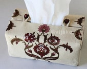 Damask floral rectangular tissue box cover