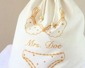 Personalized lingerie bag, hand embroidered - choose your favorite color
