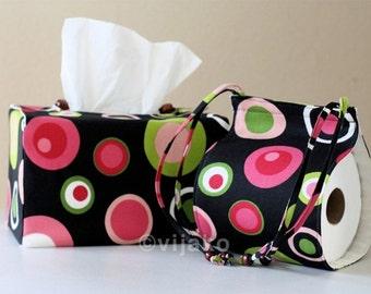 Polka Dot Toilet Paper Holder and Tissue Cover Combo Set