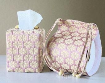 Sashiko Toilet Paper Holder and Tissue Cover Combo Set