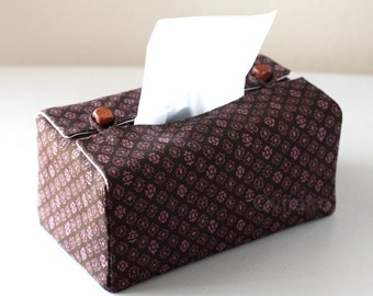 Lavender n brown tissue box cover