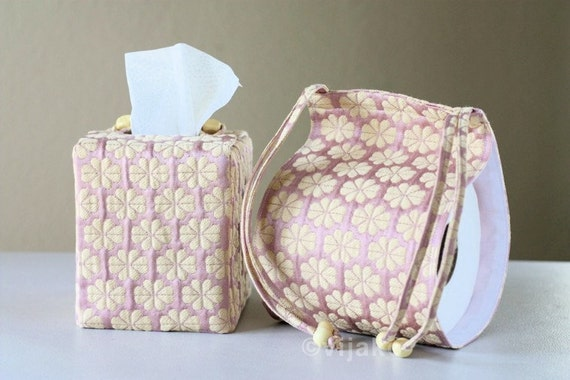 Sashiko Toilet Paper Holder and Tissue Cover Combo Set