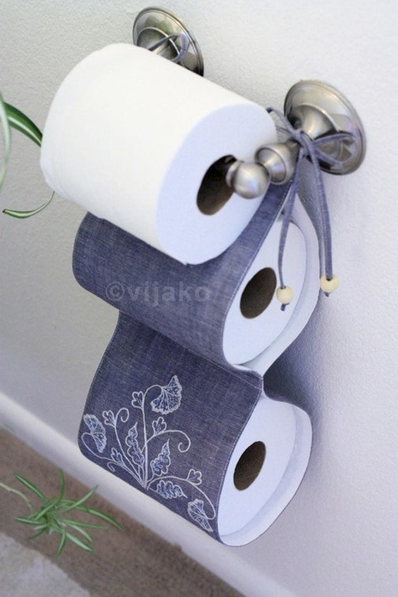 2 Roll Toilet Paper Holder Modern Jacobean Hand Embroidery