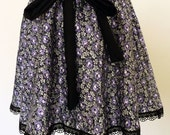 SALE-Purple satin floral fabric skirt