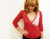 Red crossover top// Red and White striped panel
