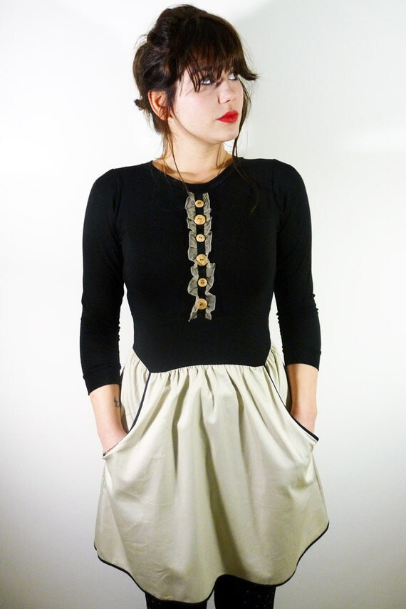 ON SALE! Librarian Dress// Wooden button and silk chiffon ruffle detail on front