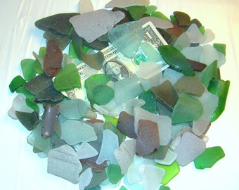 1 pound of ROUGH SEA GLASS Mystic bag / Assortment for crafts / Smaller selection