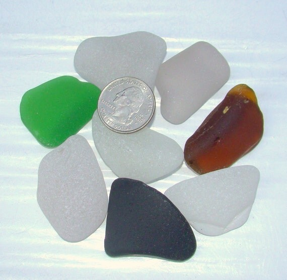 Big Curved SEA GLASS Corner parts of old bottles and jars Lot of 8 / For crafts and funky jewelry / F76