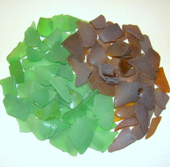 50 / 50 Green and Brown GENUINE SEA GLASS Collection for crafts Lot of 100 / I 38