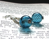 Handblown Glass Earrings Blue Black Glass Silver Dangles - Striped Free Shipping Etsy