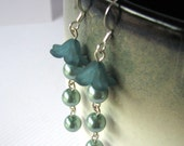 Pearl Flower Earrings Blue Lucite Flowers Pearls Dangles - Drops of Dew Free Shipping Etsy