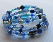 Blue Memory Wire Bracelet Glass Pearl Quartz - Patsy Free Shipping Etsy