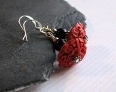 Red Cinnabar Earrings Etched Red Black Obsidian Dangles - Ornate Free Shipping Etsy