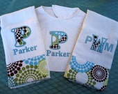 Boutique Custom Monogrammed Personalized Baby Bib with 2 Burp Cloths